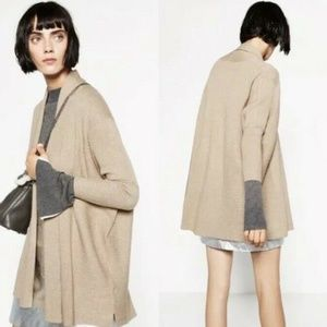 ZARA Knit Drape Neck Ribbed Cardigan Tan Size Larg